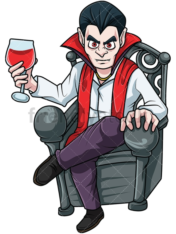 Creepy vampire drinking blood. PNG - JPG and vector EPS file formats (infinitely scalable). Image isolated on transparent background.