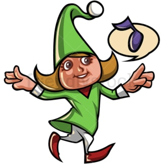 Happy female christmas elf. PNG - JPG and vector EPS file formats (infinitely scalable).