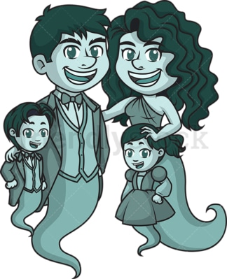Ghost family with kids. PNG - JPG and vector EPS (infinitely scalable).
