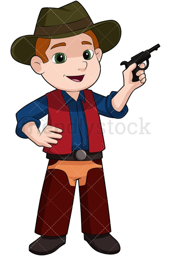 Child cowboy with fake pistol. PNG - JPG and vector EPS file formats (infinitely scalable). Image isolated on transparent background.