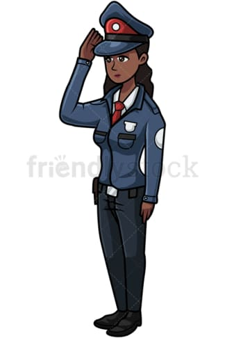 Russian police woman saluting. PNG - JPG and vector EPS file formats (infinitely scalable). Image isolated on transparent background.