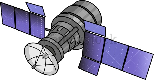 Satellite with solar panels. PNG - JPG and vector EPS (infinitely scalable).