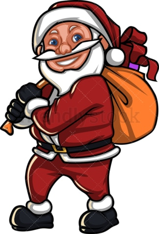 Short santa claus carrying gift sack. PNG - JPG and vector EPS (infinitely scalable). Image isolated on transparent background.