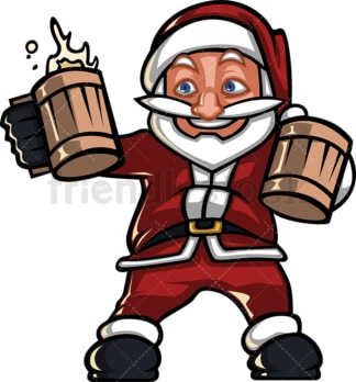 Silly santa claus drinking beer. PNG - JPG and vector EPS (infinitely scalable).