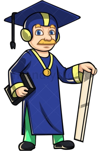 Teacher superhero wearing academic cap. PNG - JPG and vector EPS (infinitely scalable).