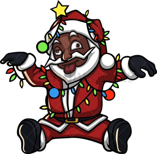 Black santa claus entangled in christmas lights. PNG - JPG and vector EPS (infinitely scalable).