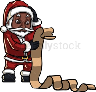 Black santa claus reading wishlist. PNG - JPG and vector EPS (infinitely scalable). Image isolated on transparent background.