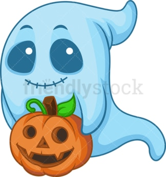 Blue halloween ghost. PNG - JPG and vector EPS (infinitely scalable).