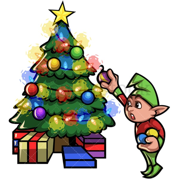 Elf decorating christmas tree. PNG - JPG and vector EPS file formats (infinitely scalable).