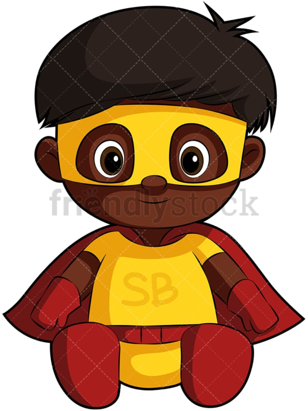 Cute black baby in superhero costume. PNG - JPG and vector EPS file formats (infinitely scalable). Image isolated on transparent background.