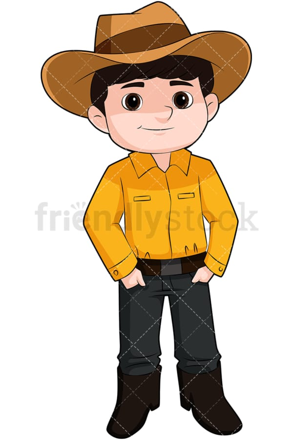 Cute boy wearing cowboy hat. PNG - JPG and vector EPS file formats (infinitely scalable). Image isolated on transparent background.