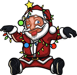 Dazed santa claus tangled in christmas lights. PNG - JPG and vector EPS (infinitely scalable).