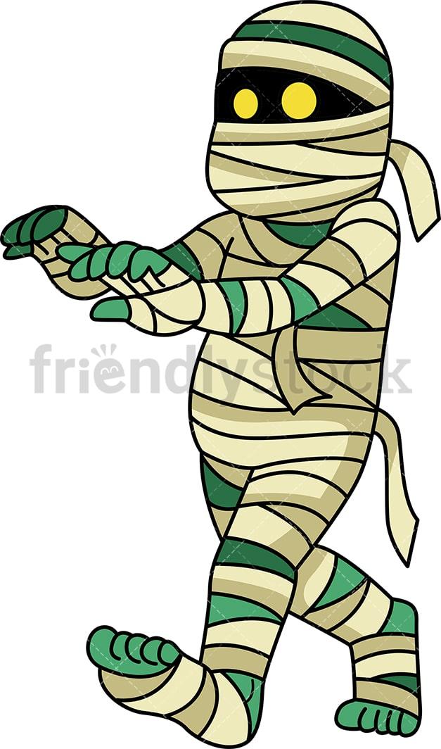 Egyptian Mummy Walking Cartoon Clipart Vector - FriendlyStock