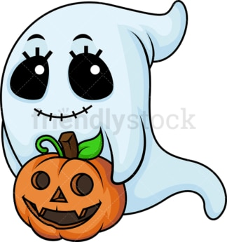 Female ghost with halloween pumpkin. PNG - JPG and vector EPS (infinitely scalable).