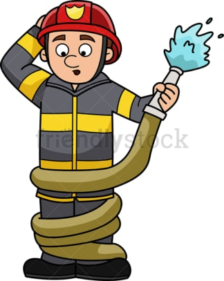 Funny firefighter. PNG - JPG and vector EPS (infinitely scalable).