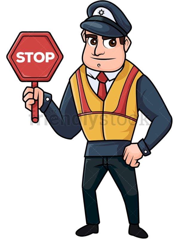 Male policeman holding a stop sign. PNG - JPG and vector EPS file formats (infinitely scalable). Image isolated on transparent background.