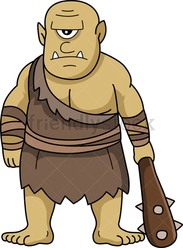 Ogre holding mace. PNG - JPG and vector EPS file formats (infinitely scalable). Image isolated on transparent background.