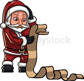 Santa claus reading long gift list. PNG - JPG and vector EPS (infinitely scalable). Image isolated on transparent background.