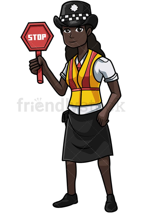 UK black policewoman holding stop sign. PNG - JPG and vector EPS file formats (infinitely scalable). Image isolated on transparent background.