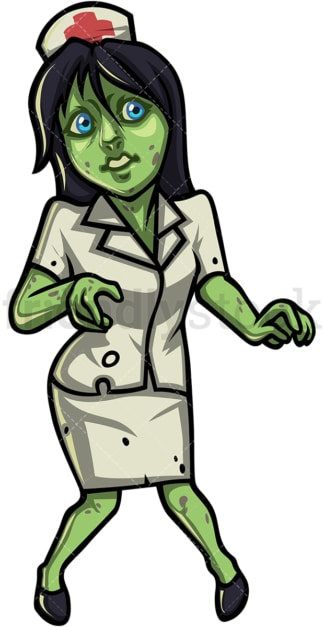 Female nurse zombie. PNG - JPG and vector EPS (infinitely scalable).