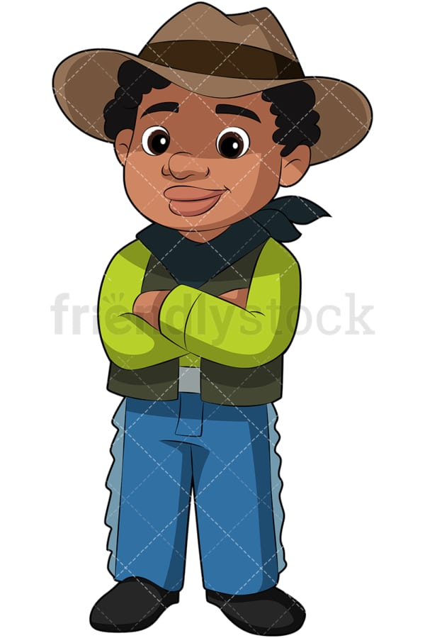 African American kid in cowboy costume. PNG - JPG and vector EPS file formats (infinitely scalable). Image isolated on transparent background.