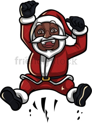 Black santa claus hopping and cheering. PNG - JPG and vector EPS (infinitely scalable).