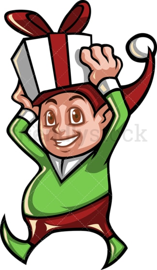 Christmas elf carrying a present. PNG - JPG and vector EPS file formats (infinitely scalable).