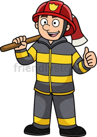 Confident firefighter. PNG - JPG and vector EPS (infinitely scalable).