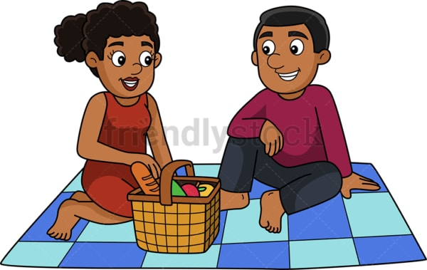 Man and woman having a picnic. PNG - JPG and vector EPS (infinitely scalable).