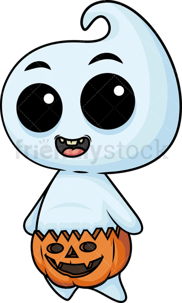 Cute baby ghost with halloween diaper. PNG - JPG and vector EPS (infinitely scalable).
