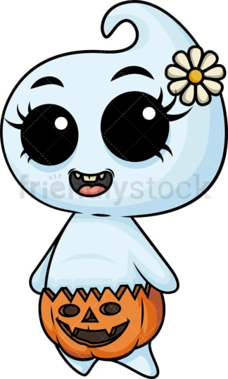 Cute baby girl ghost. PNG - JPG and vector EPS (infinitely scalable).