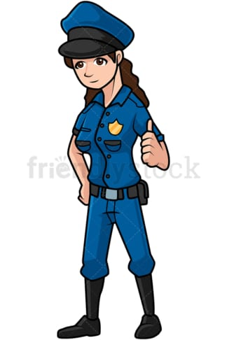 Police woman giving the thumbs up. PNG - JPG and vector EPS file formats (infinitely scalable). Image isolated on transparent background.