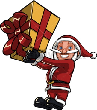 Santa claus holding big christmas present. PNG - JPG and vector EPS (infinitely scalable). Image isolated on transparent background.