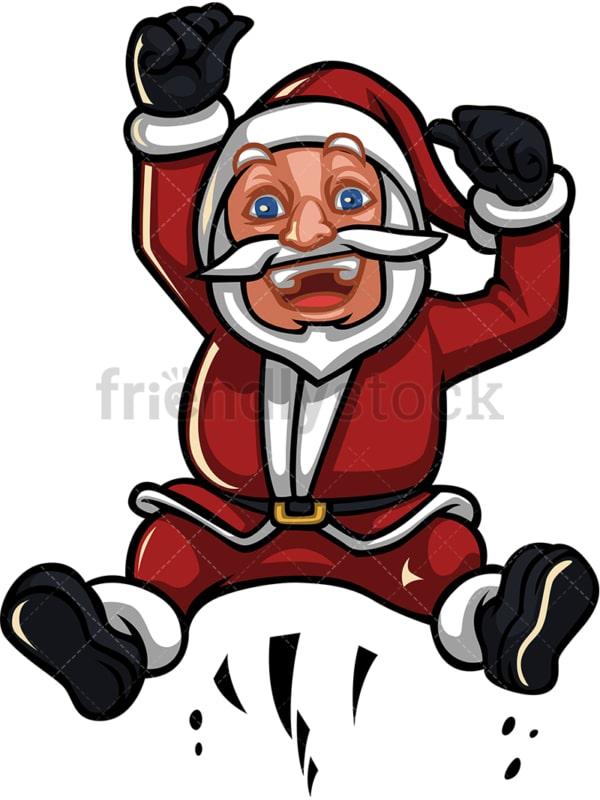 Silly santa claus jumping around. PNG - JPG and vector EPS (infinitely scalable).