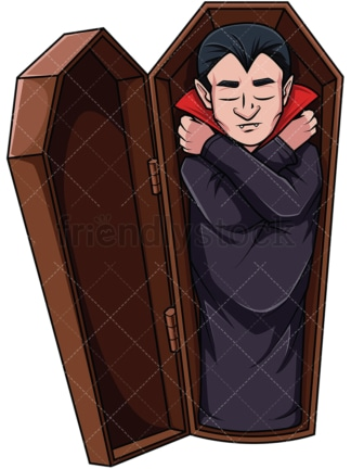 Vampire sleeping in coffin. PNG - JPG and vector EPS file formats (infinitely scalable). Image isolated on transparent background.