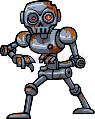Dirty robot zombie. PNG - JPG and vector EPS (infinitely scalable).