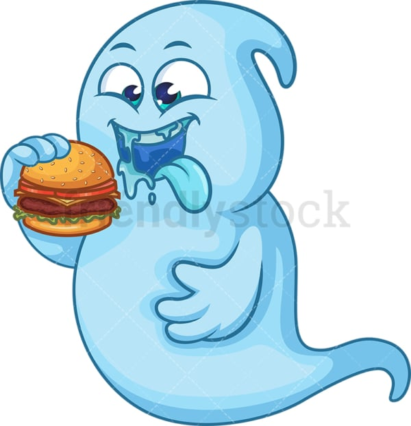 Blue ghost eating hamburger. PNG - JPG and vector EPS (infinitely scalable).