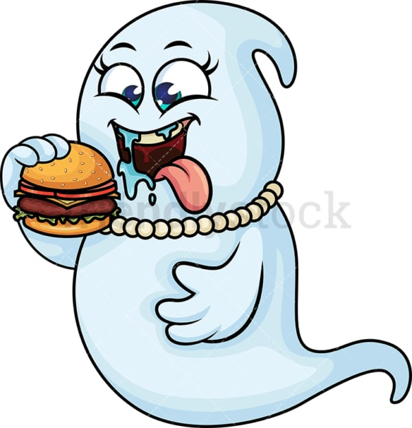 Chubby female ghost eating burger. PNG - JPG and vector EPS (infinitely scalable).