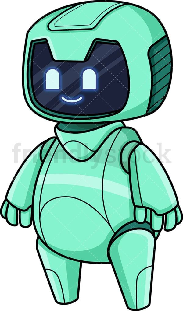 Cute green robot. PNG - JPG and vector EPS (infinitely scalable).