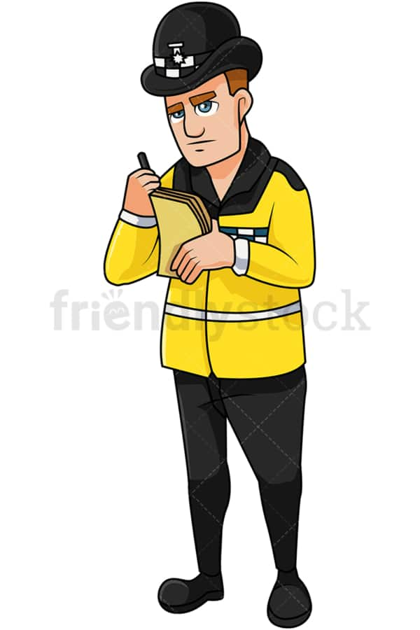 English policeman writing ticket. PNG - JPG and vector EPS file formats (infinitely scalable). Image isolated on transparent background.