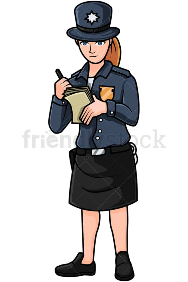 English policewoman writing a ticket. PNG - JPG and vector EPS file formats (infinitely scalable). Image isolated on transparent background.