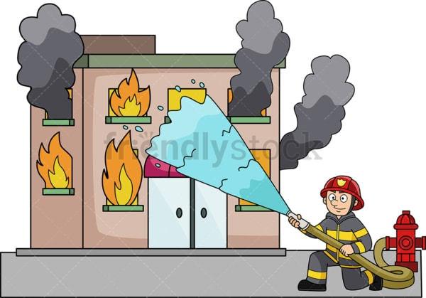 Firefighter throwing water at building on fire. PNG - JPG and vector EPS (infinitely scalable).