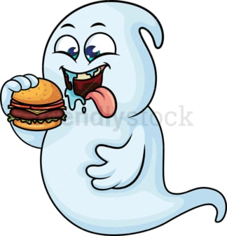 Hungry ghost eating hamburger. PNG - JPG and vector EPS (infinitely scalable).