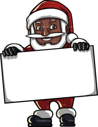 Black santa claus holding blank sign. PNG - JPG and vector EPS (infinitely scalable). Image isolated on transparent background.