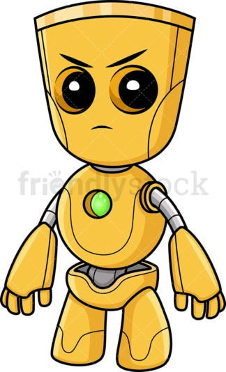 Angry yellow robot. PNG - JPG and vector EPS (infinitely scalable).