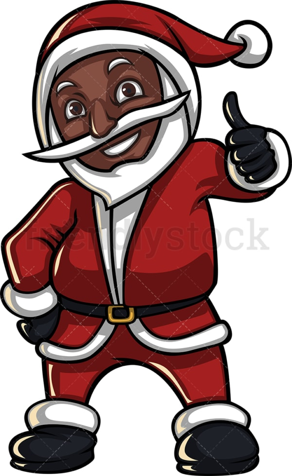 Black santa claus thumbs up. PNG - JPG and vector EPS (infinitely scalable). Image isolated on transparent background.