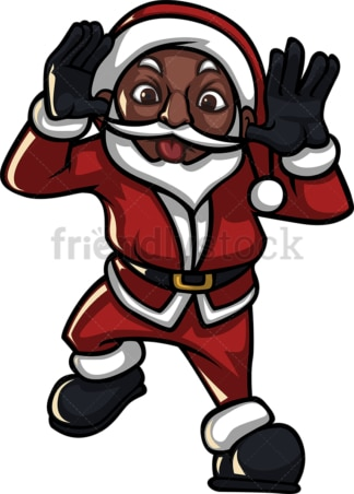 Black santa claus sticking his tongue out. PNG - JPG and vector EPS (infinitely scalable).