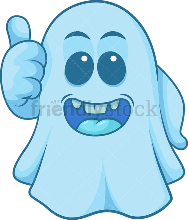Blue ghost thumbs up. PNG - JPG and vector EPS (infinitely scalable).