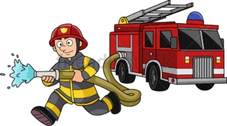 Running firefighter with firetruck. PNG - JPG and vector EPS (infinitely scalable).