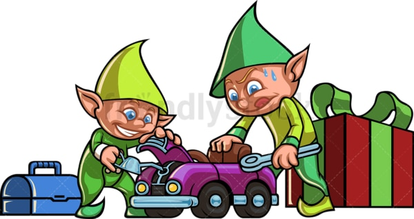 Christmas elves building a car toy. PNG - JPG and vector EPS file formats (infinitely scalable).